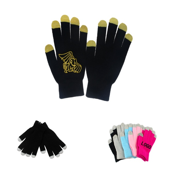 5 Fingers Touch Screen Acrylic Knit Gloves With Colorful Tips