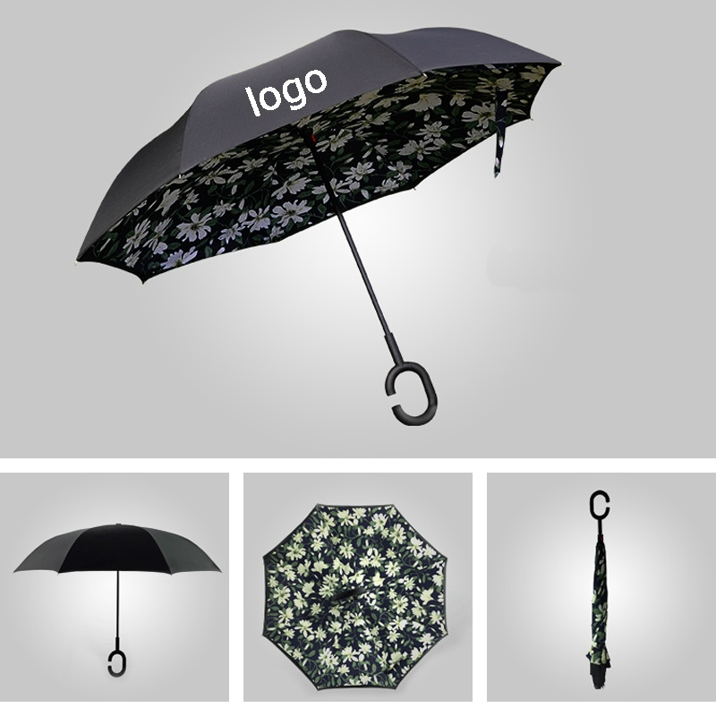 Waterproof Reverse Folding Double Layer Inverted Umbrellas