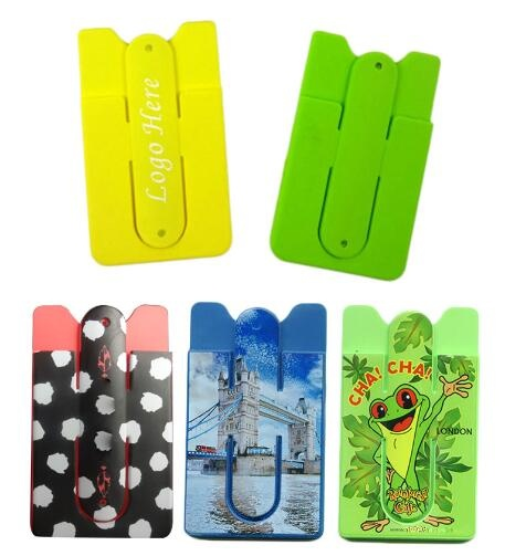 Adhesive Silicone Phone Wallet/ Card Case With Stand - Full Color Imprint