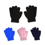 Acrylic Knitted Solid Color Gloves For Kid's /Children