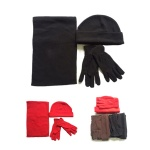 Polar Fleece Hat,Gloves and Scarves 3 Pieces Set For Adult