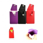 Adhesive Silicone Card Case With Button Closure For Phones
