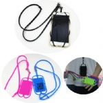 Silicone Necklace Lanyard Wrist Strap Phone Case Cover w/wallet