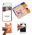 Adhesive Silicone Phone Wallet/ Card Case With Screen Microfiber Cleaner