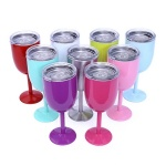 10oz Stainless Steel Wine Goblet with Lid